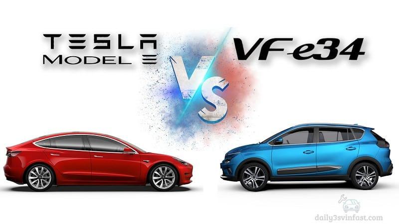 so sánh xe điện Vinfast VFE34 và Tesla Model 3